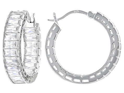 White Cubic Zirconia Rhodium Over Sterling Silver Hoop Earrings 7.50ctw