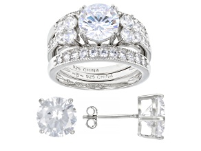 White Cubic Zirconia Rhodium Over Sterling Silver Stud Earrings And Ring With 2 Bands Set 12.00ctw