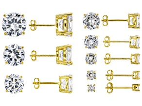 White Cubic Zirconia 18k Yellow Gold Over Sterling Silver Stud Earrings- Set of 8 38.00ctw