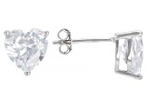 White Cubic Zirconia Rhodium Over Sterling Heart Earrings, Ring, And Pendant With Chain 10.44ctw