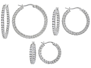 White Cubic Zirconia Rhodium Over Sterling Silver Hoop Earrings- Set of 3 6.22ctw