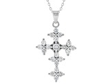 White Cubic Zirconia Rhodium Over Sterling Silver Cross Pendant With Chain 1.85ctw