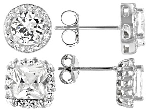 White Cubic Zirconia Rhodium Over Sterling Silver Stud Earrings- Set of 2 7.40ctw
