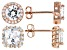 White Cubic Zirconia 18k Rose Gold Over Sterling Silver Stud Earrings- Set of 2 7.40ctw