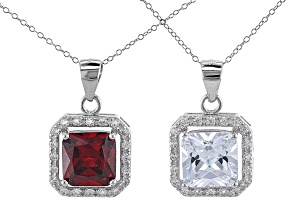 Red And White Cubic Zirconia Rhodium Over Sterling Silver Pendant With Chain- Set of 2 8.84ctw