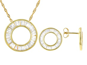 White Cubic Zirconia 18k Yellow Gold Over Sterling Silver Earrings And Pendant With Chain 3.91ctw