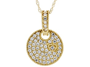 White Cubic Zirconia 10k Yellow Gold Pendant With Chain 0.27ctw