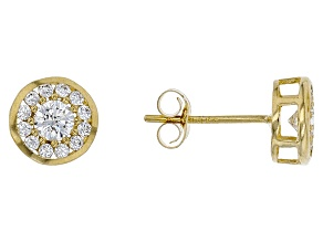 White Cubic Zirconia 10k Yellow Gold Stud Earrings 0.35ctw