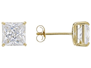White Cubic Zirconia 10k Yellow Gold Stud Earrings 2.50ctw