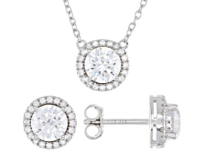 White Cubic Zirconia Rhodium Over Sterling Silver Necklace And Earrings Set 3.60ctw