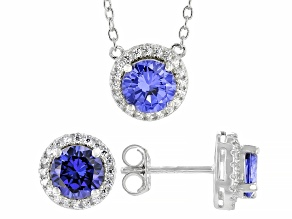 Blue And White Cubic Zirconia Rhodium Over Sterling Silver Necklace And Earrings Set 3.60ctw