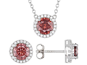 Pink and White Cubic Zirconia Rhodium Over Sterling Silver Jewelry Set 3.60ctw