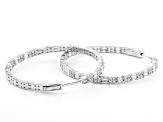 White Cubic Zirconia Rhodium Over Sterling Silver Hoop Earrings 6.24ctw