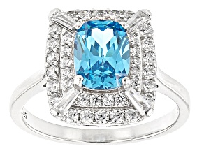 Blue And White Cubic Zirconia Rhodium Over Sterling Silver Ring 4.10ctw