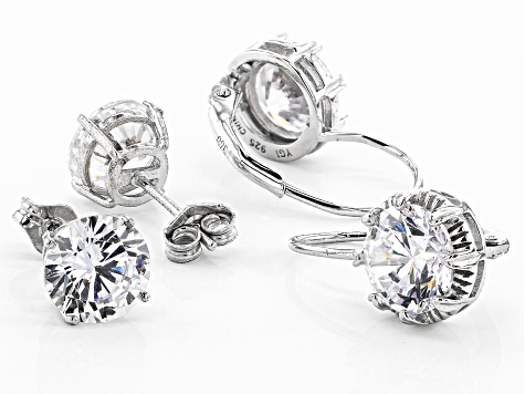 White Cubic Zirconia Rhodium Over Sterling Silver Earrings- Set of 2 2.35ctw