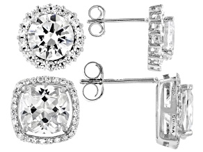 White Cubic Zirconia Rhodium Over Sterling Silver Earrings-Set of 2 16.42ctw