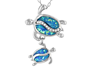Lab Created Opal And White Cubic Zirconia Rhodium Over Sterling Turtle Pendant With Chain 0.12ctw