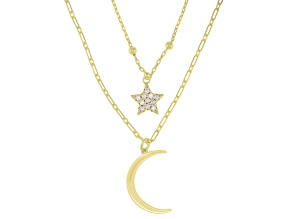 White Cubic Zirconia 18k Yellow Gold Over Sterling Silver Star And Moon Necklace 0.43ctw