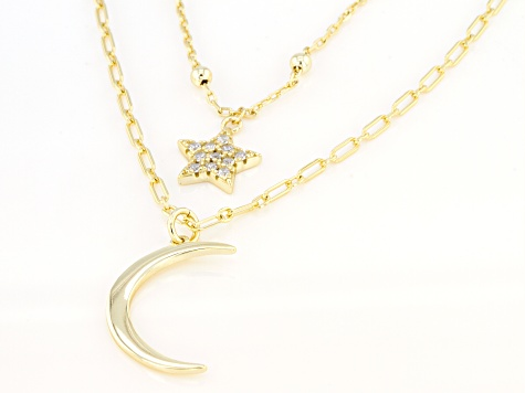 White Cubic Zirconia 18k Yellow Gold Over Sterling Silver Star And Moon Necklace 0.31ctw