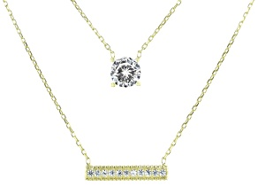 Children's White Cubic Zirconia 18k Yellow Gold Over Sterling Silver Necklace 0.14ctw