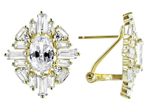 White Cubic Zirconia 18k Yellow Gold Over Sterling Silver Earrings 8.42ctw