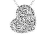 White Cubic Zirconia Rhodium Over Sterling Silver Heart Pendant With Chain 1.02ctw