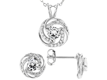 Picture of White Cubic Zirconia Rhodium Over Silver Loveknot Pendant With Chain And Stud Earrings 2.62ctw