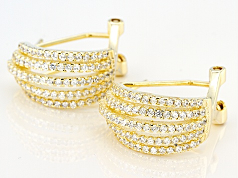 White Cubic Zirconia 18k Yellow Gold Over Sterling Silver Earrings 1.74ctw