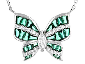 Green And White Cubic Zirconia Rhodium Over Sterling Silver Butterfly Necklace 2.47ctw