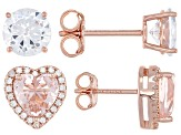 Pink And White Cubic Zirconia 18k Rose Gold Over Sterling Silver Earrings- Set of 2 5.18ctw