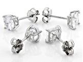 White Cubic Zirconia Rhodium Over Sterling Silver Stud Earrings- Set of 2 4.45ctw