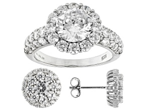 White Cubic Zirconia Rhodium Over Sterling Silver Ring And Earrings Set 4.25ctw