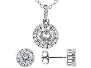 White Cubic Zirconia Rhodium Over Sterling Silver Earrings And Pendant With Chain 2.75ctw