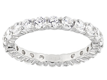 Picture of White Cubic Zirconia Rhodium Over Sterling Silver Eternity Band Ring 3.50