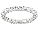 White Cubic Zirconia Rhodium Over Sterling Silver Eternity Band Ring 3.50