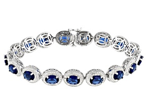 Blue And White Cubic Zirconia Rhodium Over Sterling Silver Bracelet 1.30ctw