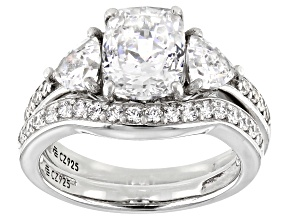 White Cubic Zirconia Platinum Over Sterling Ring With Band 4.03ctw