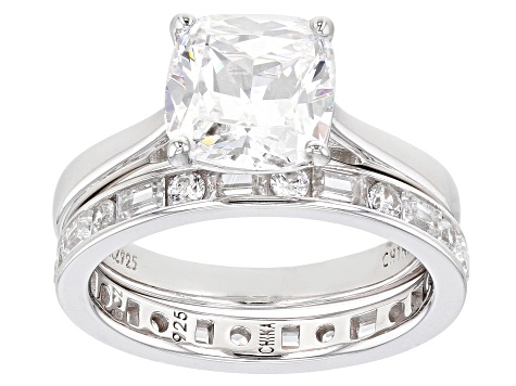 White Cubic Zirconia Rhodium Over Sterling Silver Ring With Band 3.25ctw