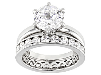 Picture of White Cubic Zirconia Platinum Over Sterling Silver Ring With Band 5.47ctw