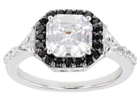 Black And White Cubic Zirconia Rhodium Over Sterling Silver Ring 2.91ctw
