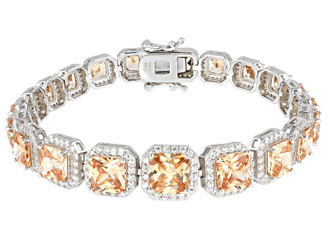 Champagne And White Cubic Zirconia Rhodium Over Sterling Silver Bracelet 39.46ctw