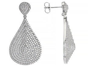 White Cubic Zirconia Rhodium Over Sterling Silver Earrings 6.14ctw