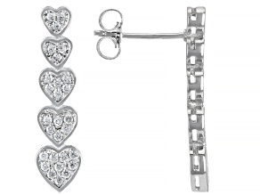 White Cubic Zirconia Rhodium Over Sterling Silver Heart Drop Earrings 0.67ctw