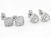 Bella Luce ® 1.99ctw White Cubic Zirconia Rhodium Over Sterling Silver Earrring- Set of 2