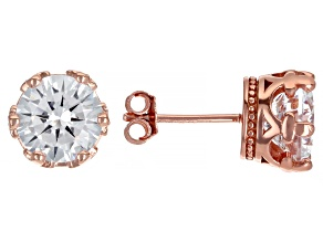 White Cubic Zirconia 18k Rose Gold Over Sterling Silver Crown Stud Earrings 6.92ctw