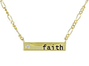 White Cubic Zirconia 18k Yellow Gold Over Sterling Silver Faith Necklace 0.22ctw