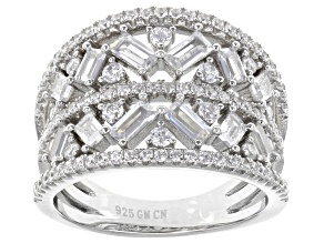 White Cubic Zirconia Rhodium Over Sterling Silver Ring 3.39ctw
