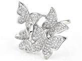 White Cubic Zirconia Rhodium Over Sterling Silver Butterfly Ring 1.46ctw