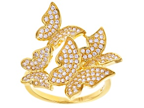 White Cubic Zirconia 18k Yellow Gold Over Sterling Silver Butterfly Ring 1.46ctw