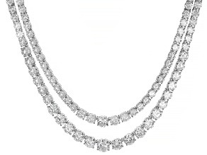 White Cubic Zirconia Rhodium Over Sterling Silver Necklace 126.84ctw